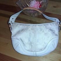Coach A05q-1850 Handbag Size M White Ivory Shoulder Bag Monogram Textile Purse Photo
