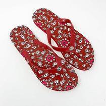 Coach Abbigail Red Floral Flip Flop Thong Sandals Sz. Us 9  Photo
