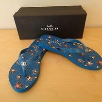 Coach Abbigail Star Denim Flip Flops Sandals Turnlock Blue Size 5 or 6 New  Photo