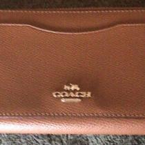 Coach Accordion Zip Around Wallet F54007 Brown Crossgrain Leather Authentic Photo