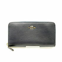 Coach  Accordion Zip Wallet Polished Pebble Leather 58059/navy Photo