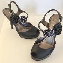 Coach Addysen Grey Satin & Calfskin Leather Peep Toe Heels Pumps Size 5 1/2 Photo