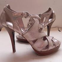 Coachaenyametallic Platinum Beige Shimmer Leather Sandals Heels Size 6 1/2 B Photo
