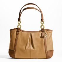 Coach Alexandra Chain Leather Tote Style F20812 B4/camel/saddle Photo