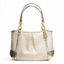 Coach Alexandra Chain Leather Tote Style F20812 B4/white/gold Photo