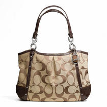 Coach Alexandra Chain Signature Tote Style F20807 B4/khaki/mahogany Photo
