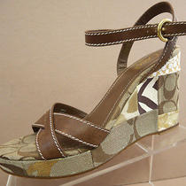 Coach Alina Brown Signature Patchwork Wedge Heel Ankle Strap Sandal Womens 8.5 M Photo