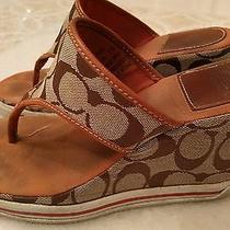 Coach Alisha Canvas Thong Wedge Sandals Tan Brown Leather Trim Women's 7b Photo