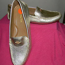 Coach Amber Metallic Gold Pebbled Leather Driving Moccasin Loafer 10 New Photo