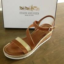 Coach and Four Banno Wedge Sandal Gold & Luggage Size 9 New in Box Photo