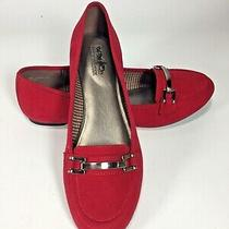 Coach and Four Red Ladies Loafer Flats Size 9 Metal Buckle Detail  Photo