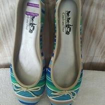 Coach and Four Women's  Ballet Flats Blue & Green Striped Shoes 9.5 Photo