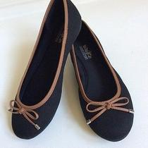 Coach and Four Women's Shoes Flats Black Brown Fabric Size 7 1/2 Mint Photo