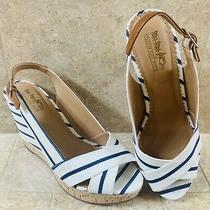Coach and Four Women's Summer Wedge Blue Navy White Size 8.5 Photo