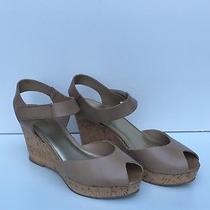 Coach and Four Women Sandals  Leather Beige Platform Wedge Sz 8.5 Photo