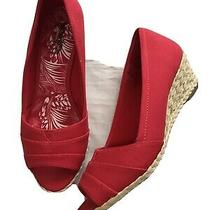 Coach and Four Women Slip on Wedge Shoes 7-1/2 Red Photo