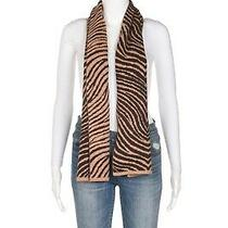 Coach Animal Print Scarf Brown Knit Thin Zebra Tan Striped Wrap Winter Photo