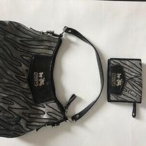 Coach Animal Zebra Print Silver Clutch Shoulder Handbag and New Wallet Photo