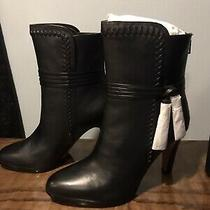 Coach Ankle Boots Jessie Black Leather Size 8.5 High Heel Tassel Booties Photo