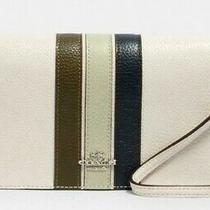 Coach Anna Foldover Crossbody Clutch Chalk With Varsity Stripes Shades of Green Photo