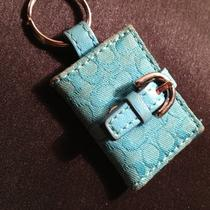 Coach Aqua Teal Blue Signature Photo Picture Frame Key Chain Ring Silver Snap Photo