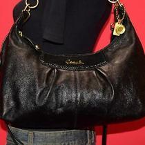 Coach Ashley Black Leather Reptile Pleated Hobo Shopper Shoulder Purse Bag 19761 Photo
