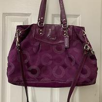 Coach Ashley Dotted Op Art Purple Sateen Purse/handbag/satchel 2 Way Bag  Photo
