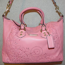 Coach Ashley Lace Leather Satchel Coral New Photo