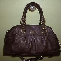 Coach Ashley Large Dark Mahogany Brown Leather Satchel Shoulder Bag 15447 Euc Photo