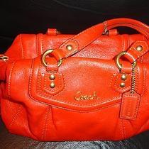 Coach Ashley Leather Burnt Orange Convertible Travel Satchel Bag Photo