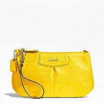 Coach Ashley Leather Large Wristlet Style F48103 B4/lemon Photo