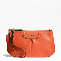 Coach Ashley Leather Large Wristlet Style F48103 B4/orange Photo
