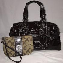 Coach Ashley Mahogany Brown Patent Leather Satchel Purse Handbag Carryall F20460 Photo