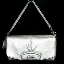 Coach Ashley Metallic Silver Pleated Leather Flap Wristlet Clutch Purse  Photo