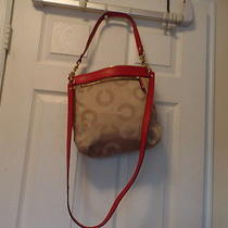 Coach Ashley Op Art Red/khaki With 2 Straps  Photo