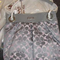 Coach  Ashley Pink Grey Sateen Slim Hippie Signature Purse Nwt Photo