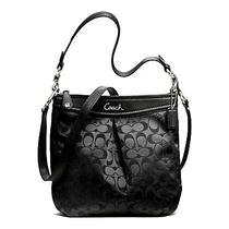 Coach Ashley Signature Hippie Purse Bag F20111 Black/silver Nwt Photo