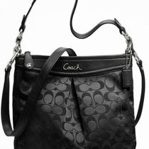 Coach Ashley Signature Sateen Hippie Black Handbag F17599 Photo