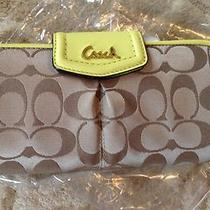 Coach Ashley Signature Sateen Wallet Khaki Yellow Nwt New Photo