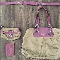 Coach Ashley Signature Satin Tan Purple Tote Bag F1551 Purse Wristlet Wallet Set Photo