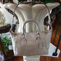 Coach Ashley Tossed Laser Cut Satchel Shoulder Bag Mushroom F22488 Photo