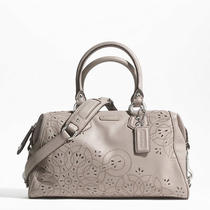 Coach Ashley Tossed Laser Cut Satchel Style F22488 Sv/mushroom Photo