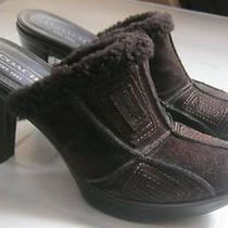 Coach Aubrey Shoes Heels Brown Suede Heels Clogs Slides Suede Leather 7.5 B Photo
