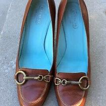 Coach Aubry Brown Leather Loafer Pump Heel Pumps Made in Italy Size 8.5 M Photo