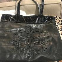 Coach Audrey 17041 Perforated Op Art Black Leather Tote Shoulder Bag Purse Photo