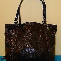 Coach Audrey Perforated Patent Leather Cinched Tote Navy 19571 358 Photo