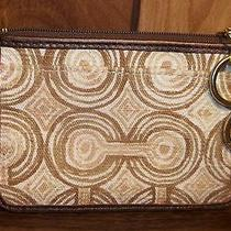 Coach Audrey Signature Op Art Swirl Medium Skinny Key Ring Wallet Brown Multi  Photo