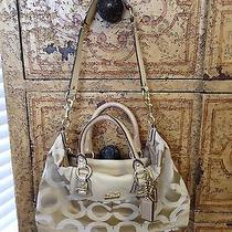 Coach Aurh Ashley Satchel/ Purse (Cream& Gold) Photo
