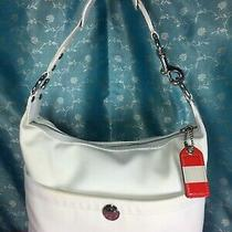 Coach Auth Carry Bag Purse Handbag Shoulder Bag Ivory Microfiber & White Leather Photo