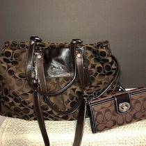 Coach Authentic Ashley Signature Sateen Brown With Wallet  No Box  Photo